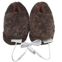 Wholesale Slippers Warming Usb - Wholesale- Men's Women's Shoes Foot Warmer USB Heated Plush Slippers Brown Fit Size 35-42