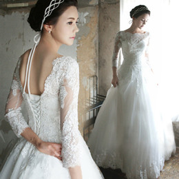 Wholesale Wedding Dresses Open Feather Train - Boho Country Style Boat Neck Wedding Dresses A Line Chiffon Puffy With Lace 3 4 Sleeves Open Back Beach Bridal Gowns Vestidos De