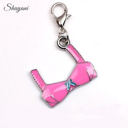 Wholesale Wholesale Bra Charms - Pink Color Enamel Bra Charms Pendant for Locket Necklace Bracelet for Jewelry Making DIY Handmade Craft