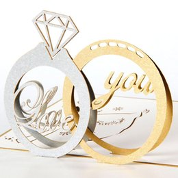 Wholesale 3d Wedding Cards Design - 10pcs lot Diamond Ring Design Exquisite 3d Pop Up Card Valentine's Day Greeting&Gift Cards Laser Cut Wedding Invitations