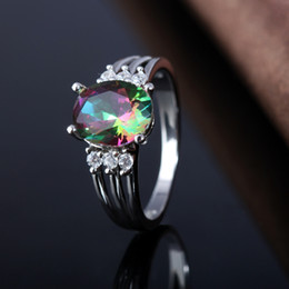 Wholesale Oval Vintage Ring - Vintage 925 Sterling Silver Plated Queen Fancy Natural Mystic Topaz Oval Gemstone Jewelry Austrian Crystal Wedding Ring for lovers