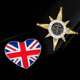 Wholesale Flag Pin Badges - New England Style British Flag & Five-pointed Star Anchor Icon Gold Plated Brooch for Female Badges Pins