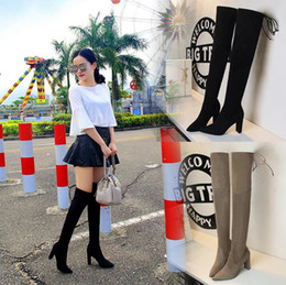 Wholesale Gray Leather Boots Women - Hot sale Top Faux Suede Women Thigh High Boots Stretch Slim Sexy Fashion Over the Knee Boots Female Shoes High Heels Black Gray Wine Nude
