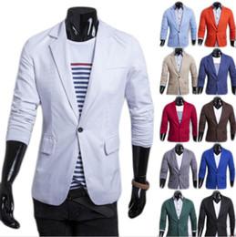 Wholesale Cheap Blazers Jackets - Men Blazer 2017 New Arrival Single Button Trendy Mens Blazers Slim Fit Linen Suits Korean Fashion Red White Blazer Jacket Cheap