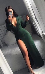 Wholesale Cheap Couture Gowns - 2017 Celebrity New 12y NAVY Dark Green V-neck Long sleeves Fashion Couture Designer Style Cheap high slit designer Evening Gowns For Women