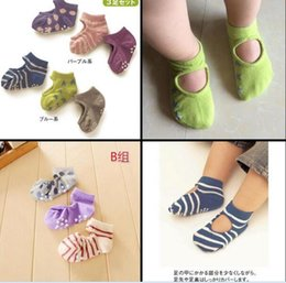 Wholesale Wholesale Rubber Flooring - Baby Cute Anti-skid Room Socks Floral Dots Striped Solid color anti-drop rubber dots sole floor socks for baby boys girls 6M-3T