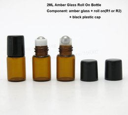 Wholesale Deodorant Bottles - Wholesale- 500pcs 2ml Mini roll on roller bottles for essential oils roll-on refillable perfume bottle deodorant containers with black lid