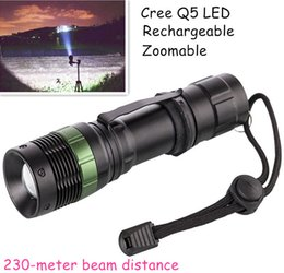 Wholesale Distance Lights - Portable Lighting Cree Q5 Mini LED Torches Zoomable Flashlights 3000lm 230 Meters Distance Emergency Lighting for Hiking Camping Fishing