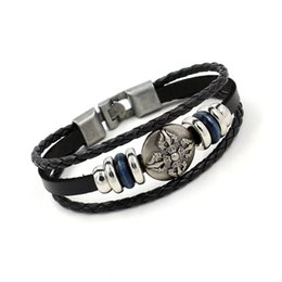 Wholesale Multiple Chain Bracelet - Leather Bracelets for Men New Alloy Punk Woven Hemp Genuine Leather Beaded Multiple layers Hand Jewerly