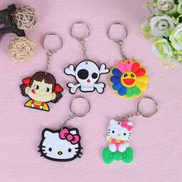 Wholesale Minions Dhl - DHL Free PVC Soft Rubber Models Cartoon Keychain Minions Skull Hello Kitty Key Ring Holder Key Chains Finder Souvenirs Gifts Item