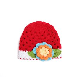 Wholesale Crochet Baby Beret Hat - 2017 new children knitted hats, baby flower princess knit hat, kids beret hat , 10pcs lot free shipping