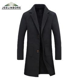 Wholesale plus size trench - Wholesale- 2016 New Winter Woolen Long Peacoat Men Slim Casual Overcoat Mens Warm Windbreaker Trench Coat Jackets hombre Plus Size M-5XL