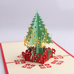 Wholesale Laser Cut Greeting Cards - Christmas Tree Handmade 3D Christmas Pop Up Greeting Card Paper Laser Cut Greeting Cards Merry Christmas Tree Postcards OOA2805