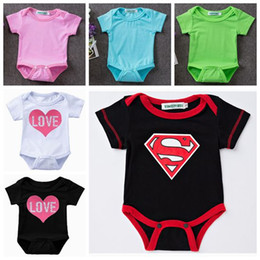 Wholesale Boys Superman Halloween Costumes - baby girl rompers toddler clothes summer kids superman costume Girl heart top ins cotton baby boy jumpsuit infant clothing boutique bodysuit