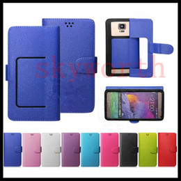 Wholesale Universal Mobile Phone Leather Case - Universal Wallet PU Flip Leather Case Credit card Cover For 4.0 4.5 5.0 5.5 Inch Cell Phone Mobile Phone