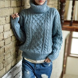 Wholesale Oversized Yellow Sweater - Wholesale- Oversized Sweater Pull Femme Turtleneck Ugly Christmas Sweaters Women 2016 Korean Winter Knitted Jumper Sueter Pullover Clothing