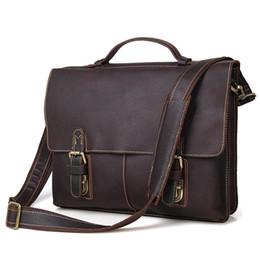 Wholesale 14 Laptop Shoulder Bag - Wholesale- Nesitu Vintage Dark Brown Real Skin Genuine Leather 14 inch Laptop Men Briefcase Portfolio Messenger bags Shoulder bags #M7090