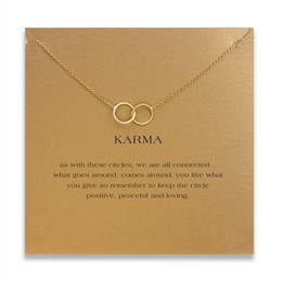 Wholesale Karma Circle - With card! cute Dogeared Necklace with with 2 circles pendant(karma), noble and delicate, no fade, free shipping and high quality