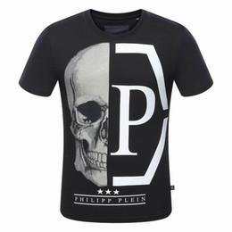 Wholesale Skull Shirts Mens - Hot New Tide Brand Cotton Short Fit Slim Casual Tee Print 3D Skulls Rhinestone Desinger Fit silm MENS T-shirts Cotton Top quality 8182P