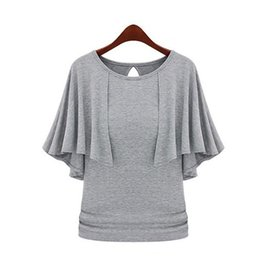 Wholesale Cloak T Shirts - Wholesale- 2016 New Summer Solid Fashion Cloak O-Neck Women Cotton Blend Slimming Stretchy Tops Loose Casual T-Shirt Plus Size M-5XL