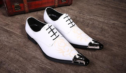 Wholesale Low Heel Dress Shoes Wedding - genuine leather men shoes pointed toe lace up white spring autumn solid flats iron head dress oxfords low heels wedding party ankle shoes