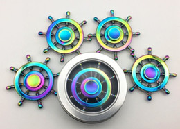 Wholesale Boat Rudder Design - Newest Rainbow Boat Rudder Hand Spinner Edc Decompression Toy Helmsman Fidget Spinner Steering Wheel Design Fidget Toy with Separate packing