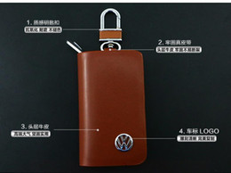 Wholesale Vw Remote Key Cover - VW Cow Genuine Leather Car Remote Key Chain Holder Case Bag Cover fob Free shipping