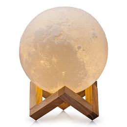Wholesale Moon Usb - USB Rechargeable 3D Printing Moon Lamp Dimmable Touch Switch Luna Moon Light Color Brightness Adjustable LED Night Light With Wooden Mount