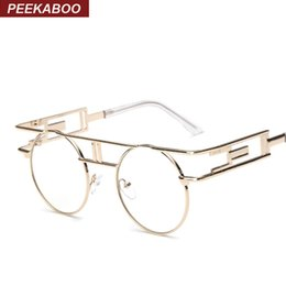 a9f30bb4dc8 Wholesale- Peekaboo Fashion retro gothic steampunk eyeglasses women round  gold metal frame branded eyewear frames men designer UV oculos