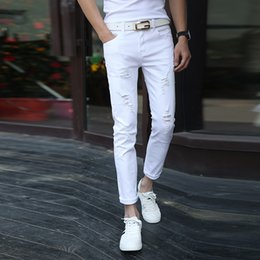 Wholesale Tights Capris For Men - Wholesale-New men whitefear of god jeans Fashion Slim frayed stretch pants feet Men casual pants tight hole ripped jeans for men
