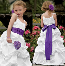 Wholesale Grinding Belts - New white taffeta bubbles, handmade flowers, butterfly ties, purple belts, shoulder straps, zip UPS, round neck dresses and ground wear
