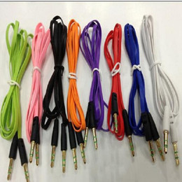 Wholesale Noodle Cable Iphone 5s - Colorful 3.5mm audio cable cord Car Aux Cable Flat Noodle 1M Gold Golden male for mobile phone iphone 5 5s samsung htc blackberry nokia
