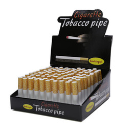 Wholesale Cigarette Smoking - Wholesale 78mm 55mm Ceramic Cigarette Hitters Smoking Pipes Cheap Portable Bat One Hitter Pipes Bat Tobacco Pipe Aluminum Smoking Pipes