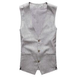 Льняные жилеты онлайн-Wholesale- 2017 new spring & summer Khaki color single breasted cotton linen vest casual mens suit vest wedding waistcoat  clothing