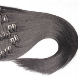 Wholesale Frosting Hair Clip - Fashionkey So Popular!Can Be Permed! Straight Clip-in Cheap Synthetic Hair Extensions False Female Hairpieces for Women 12-32 Inches