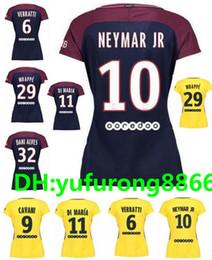 Wholesale Ladies Army Shirt - 17 18 Paris Women Neymar soccer jersey camiseta de futbol lady Di Maria David Luiz Verratti Draxler Lucas yellow Neymar jr football shirts