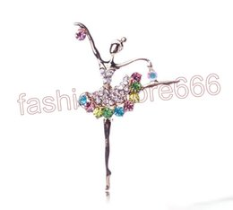 Wholesale Ballerina Dancers - Fashion Ballerina Ballet Dancer Girl Full Colourful Rhinestone dance girls Cute Angle Brooches and Pins Wholesale XZ0027