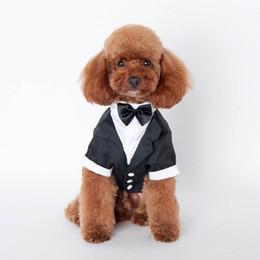 Wholesale Pet Tuxedo Wholesale - New Pet Dog Puppy Cat Tuxedo Bow Tie Wedding Suit Costumes Coat black color S-XXL free shipping