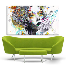 Wholesale oil painting colours - ZZ674 girl FLOWER Butterfly colour Cartoon Figure Painting Abstract drawing Spray Oil Painting Canvas Home decor Frameless art