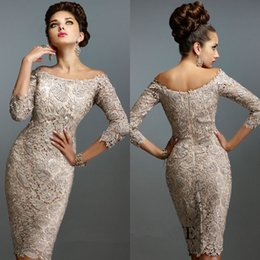 Wholesale Plus Size Bride Elastic Lace - Elegant Champagne Lace Knee Length Mother Of The Bride Dresses Plus Size Off The Shoulder Formal Evening Gowns sleeves Wedding Guest Dress