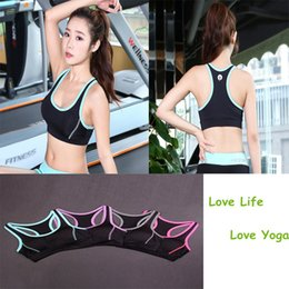 Wholesale Fitness Bras - 2017 New Professional high-intensity yoga clothing vest shockproof running fitness sports underwear bra thin section wicking summer