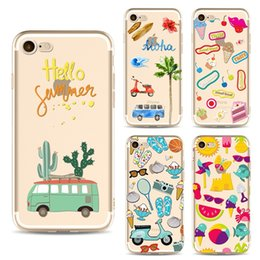 Wholesale Love Cartoon Painting - Cartoon fashion Summer love and beach cell phone case For iPhone 7 cases Soft TPU painting Back silicone Cover shell for iphone 5S 6S 7 Plus