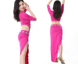 Wholesale Sexy Dance Set Wear - Sexy Fish Tail Skirt One Piece Belly Dancer Clothing Dance Costume Set Stage Performance Show Wear Blue White L