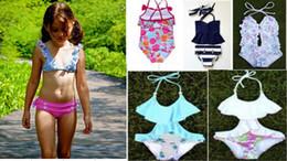 Wholesale String Bikini Girls - Girls swimwear Kids swimsuits Bikini two-piece 2pcs set Flowers prints polyester Swimming Swimsuit string neck 2-7years
