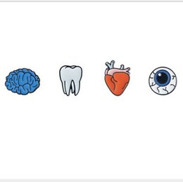 Wholesale Teeth Brooches - Wholesale- 2016 personality tooth eye heart brain organ phosphorus needle collar brooch Shirt Collar Pin Brooch small mini button brooches