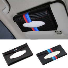 Wholesale Sun Logos - Styling M Logo Sun Visor Tissue Box Organizer Sunshade Paper Napkin Holder Storage Universal For BMW 3 5 Series E46 E39 E90 F30