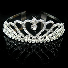 Wholesale HOT Sale Luxury Sparkling Silver Color Wedding Diamante Pageant Tiaras Prom Crystal Bridal Crowns For Bride Hair Jewelry Accessories