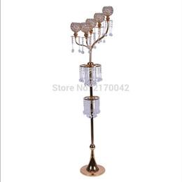 Wholesale Floor Metal Candlestick Holder - 10pcs lot Gold Metal Floor Candelabra Glass Candle Holder Stand For Home Wedding Centerpiece Decor Candlestick Holder H 160cm