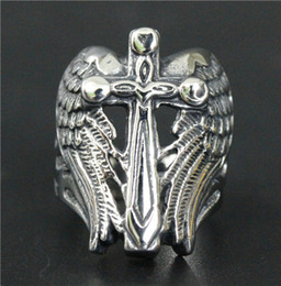 Wholesale Stainless Steel Winged Ring - 2016 Cross Feather Wings Ring 316L Stainless Steel Jewelry Cool Design Polishing Silver Motorcycles Biker Cross Ring