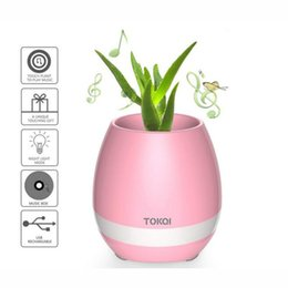 Wholesale Cool Phone Speakers - 2017 New Funny Cool Gadget Bluetooth speaker music flower pot touch swift with night light Music Flower Pots for Home Office